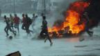 Brennende Barrikaden in Harare, Simbabwe.
