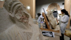 Beschädigte Statue aus Palmyra im syrischen Nationalmuseum von Damaskus, Syrien.