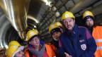Innenminister Matteo Salvini (Zweiter von rechts) besucht die Baustelle der TAV (Hochgeschwindigkeitsbahnverbindung Turin-Lyon) in Chiomonte (Turin), Italien.