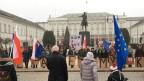 Bürgerrechtler demonstrieren vor dem Präsidentenpalast.