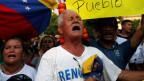 Kundgebung gegen die Regierung des venezolanischen Präsidenten Nicolas Maduro am 12. Februar 2019 in Cucuta, Kolumbien