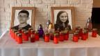 Portraits des ermordeten slowakischen Journalisten Jan Kuciak und seiner Verlobten Martina Kusnirova in der Redaktion der Nachrichtenplattform aktuality.sk Journalisten.