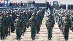Venezolanische Soldaten an einer militärischen Übung in Puerto Cabello, Venezuela.