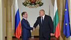 Der russische Ministerpräsident Dmitri Medwedew (li.) und sein bulgarischer Amtskollege Boyko Borissov in Sofia.