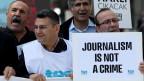 Journalisten demonstrieren in der Türkei für die Pressefreiheit.