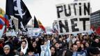 Demonstration in Moskau gegen Internetzensur.