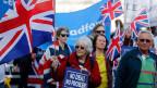 Brexit-Befürworter protestieren vor dem Westminsterpalast in London.