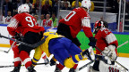 Die Schweizer Eishockey-Nationalmannschaft spielt gegen Schweden an den Weltmeisterschaften in der Royal Arena in Kopenhagen, Dänemark am 20. Mai 2018.
