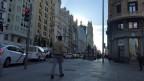 Die Gran vía, in Madrid in den frühen Morgenstunden nach dem Wahlsonntag in Spanien.