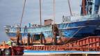 Das Fischerboot, das mit 800 Flüchtlingen an Bord in Italien am 18.4.2015 gesunken ist.