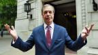 Der Vorsitzende der Brexit-Partei, Nigel Farage nach seinem Wahlsieg bei der Europawahl.