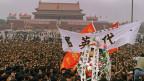 Demonstrierende Studenten beim Tiananmen-Platz in China am 4. Juni 1989.