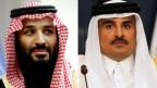 Der saudische Kronprinz Mohammed bin Salman (links) und Katars Emir Tamim Bin Hamad Al-Thani.