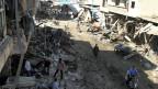 Der Markt in der Stadt Maarat al-Numan nach einem Luftangriff. Archivbild vom 19. April 2016.