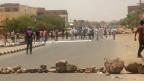 Strassenblockade bei Protesten in Sudan.
