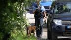 Ein Polizist mit Polizeihund neben Autos.