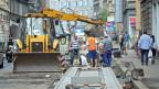 Baustellenarbeiter in Zagreb, Kroatien.