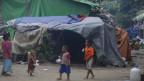 Kinder in einem Zwischenlager des Dorfes War Taung in Rakhine, Burma 18. Juni 2019.