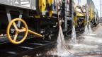 Ein Prototyp eines Heisswasser-Spritzfahrzeuges der SBB zur Bekämpfung von Unkraut im Gleisbereich.