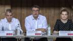 Nationalrat Beat Jans, Parteipräsident Christian Levrat und Nationalrätin Nadine Masshardt äussern sich zum Klima-Marshallplan.
