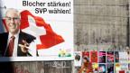 Ein Wahlplakat der SVP zu den Eidgenössischen Wahlen mit dem Konterfei von Bundesrat Christoph Blocher am 22. September 2007 in Bern.