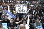 Demonstrierende Mütter in Hongkong