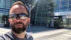 David Nauer vor dem Skolkovo-Technopark in Moskau.