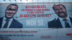 Ein Plakat, das für Adoptionen von gleichgeschlechtlichen Paaren kämpft. Matteo Salvini (rechts) und Luigi Di Maio.