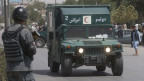 Eine Militärambulanz vor dem Polizeihauptquartier in Kabul/Afghanistan.