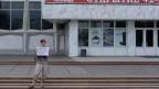 Demonstrantin in Krasnojarsk.