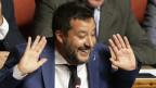 Das Bild zeigt Italiens Innenminister Matteo Salvini im Senat.