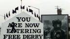 Der «Free Derry Corner» im Bogside-Viertel. Die Aufschrift auf der Fassade wurde in den letzten Jahrzehnten mehrfach erneuert.