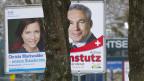 Wahlplakat zur Ständeratsersatzwahl 2011 der Nationalräte Christa Markwalder (links) und Adrian Amstutz.