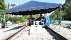 Seit sechs Wochen sitzen die Kumpel im Cumberland auf dem Bahngleis.