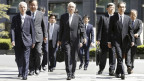 Auf dem Bild zu sehen sind die drei drei ehemaligen TEPCO-Manager Tsunehisa Katsumata, Sakae Muto und Ichiro Takekuro.