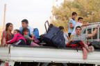 Kurdische Familie auf der Flucht.