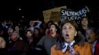 Zahlreiche Fischer mit Transparenten protestieren gegen Lachsfarmen in Chile.