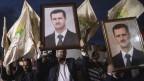 Unterstützer des syrischen Präsidenten Bashar al-Assad während einer Demonstration neben der syrischen Botschaft in Amman, Jordanien, 15. Oktober 2019.