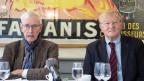 Jean-Daniel Gerber (links) und Thomas Cottier sprechen zum Rahmenabkommen Schweiz-EU am 31. Oktober 2019 in Bern.