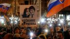 Protestkundgebung zum ersten Jahrestag der Ermordung des Reporters Jan Kuciak und seiner Verlobten Martina Kusnirova in Bratislava, Slowakei.