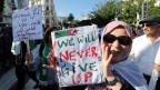 Protest in den Straßen von Algier.