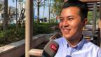 Angus Wong ist 24 Jahre alt, und kandidiert hier für die Demokratische Partei.