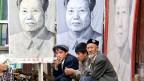 Drei Uiguren verkaufen Stoffporträts des früheren chinesischen Machthabers Mao Zedong.
