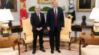 Bundesrat Ueli Maurer zu Besuch bei US-Präsident Donald Trump im Jahre 2019.