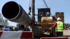 Baustelle der Gaspipeline Nord Stream 2, in der Nähe der Stadt Kingisepp, Region Leningrad, Russland.