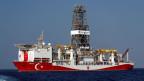 Ein türkisches Bohrschiff im östlichen Mittelmeer vor Zypern am 6. August 2019.