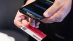 Ein Kondukteur kontrolliert den Swiss Pass eines Zugreisenden.
