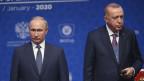Der türkische Präsident Recep Tayyip Erdogan (rechts) und Russlands Präsident Wladimir Putin in Istanbul an der Einweihung der TurkStream-Pipeline am 8. Januar 2020.