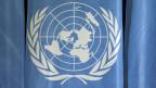 Das UN-Logo im europäischen Hauptquartier der Vereinten Nationen in Genf.