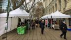Der Bauernmarkt vor dem Landwirtschaftsministerium in Sofia, initiiert von der Schweiz.